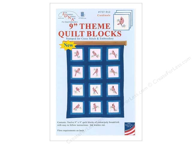 Jack Dempsey 9 in. Theme Quilt Blocks 12 pc Cardinals