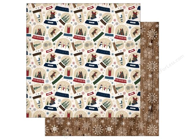"""Carta Bella Collection Cabin Fever Paper 12""""x 12"""" Frosty Snow Globes (25 pieces)"""