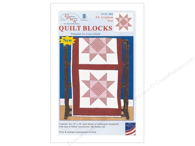 Jack Dempsey Quilt Block 18 in. 6 pc White XX Gingham Star