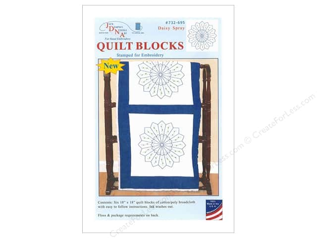Jack Dempsey Quilt Block 18 in. 6 pc White Daisy Spray