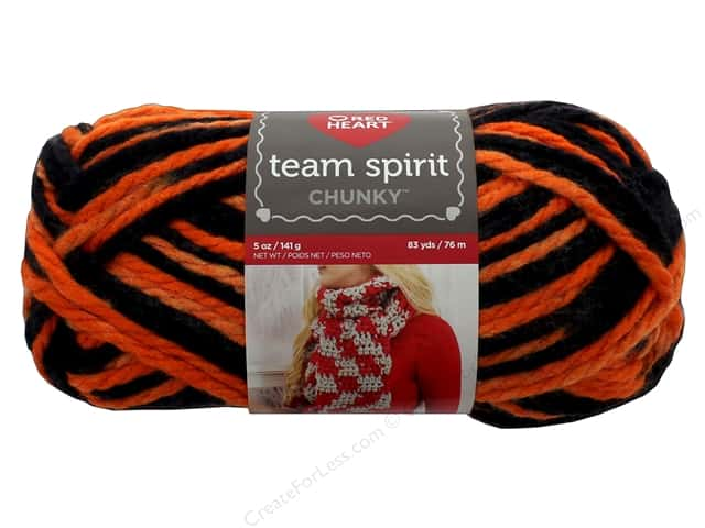 Red Heart Team Spirit Chunky Yarn 83 yd. #9972 Orange/Black