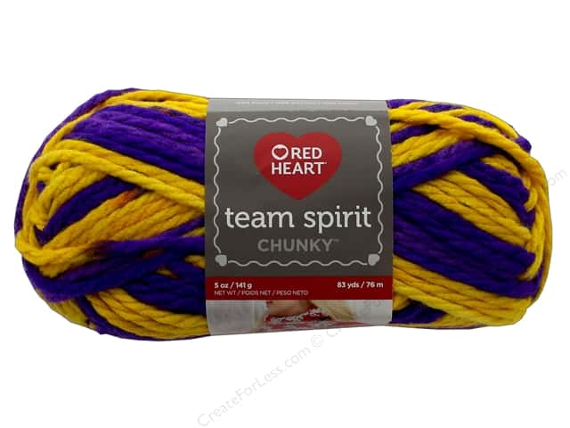 Red Heart Team Spirit Chunky Yarn 83 yd. #9956 Purple/Gold