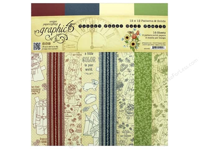 Graphic 45 Collection Penny's Paper Doll Paper Pad 12 in. x 12 in. Solids/Patterns