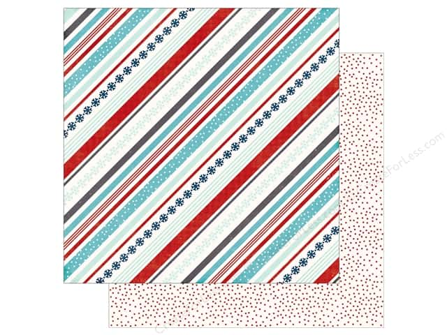 Echo Park A Perfect Winter Paper 12 in. x 12 in. Snowy Stripe (25 pieces)