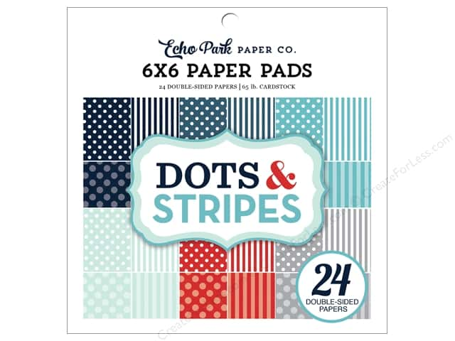 Echo Park Dots & Stripes Winter Paper Pad 6  in. x 6 in.