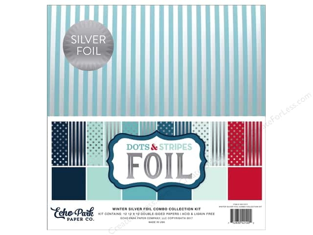 Echo Park Dots & Stripes Winter Silver Foil Combo Kit 12 in. x 12 in.
