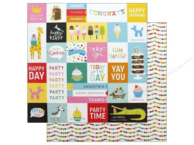 Pebbles Happy Hooray Paper 12 in. x 12 in. Party Time (25 pieces)