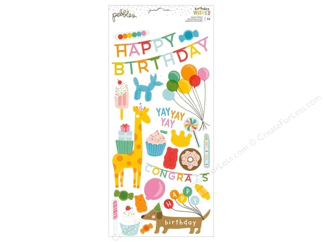 Pebbles Happy Hooray Stickers 6 in. x 12 in.