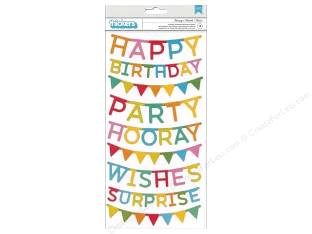 Pebbles Happy Hooray Thickers Sticker Chipboard Phrases