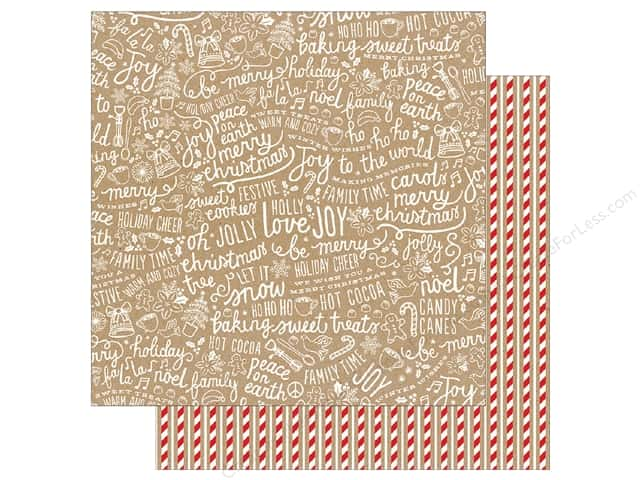 Pebbles Merry Merry Paper 12 in. x 12 in. Candy Cane Stripes (25 pieces)
