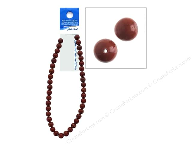 John Bead Semi-Precious 16 in. 10 mm Round Red Jasper Natural