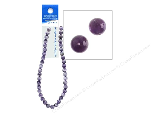 John Bead Semi-Precious 16 in. 10 mm Round Dogteeth Amethyst Natural