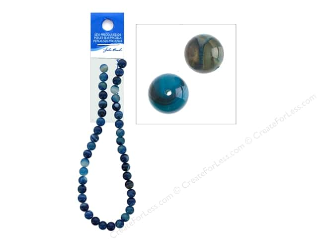 John Bead Semi Precious Bead 16 in. Agate 10 mm Round Dyed Blue
