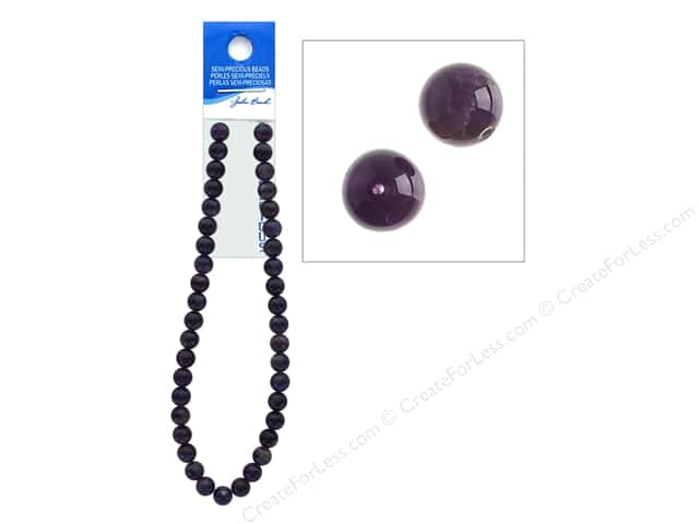 John Bead Semi-Precious 16 in. 10 mm Round Dark Amethyst Natural