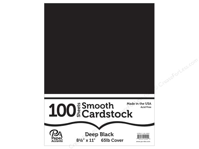 Paper Accents Cardstock 8 1/2 x 11 in. Smooth Deep Black 100 pc.