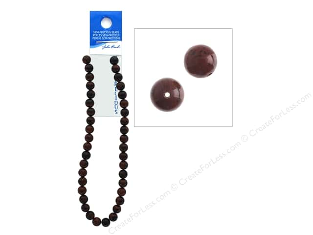 John Bead Semi-Precious 16 in. 10 mm Round Mahogany Jasper Natural