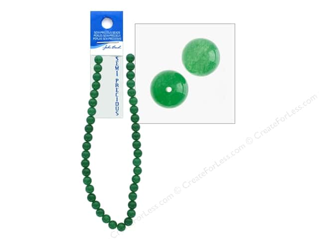 John Bead Semi Precious Bead 16 in. Aventurine 10 mm Round Dyed Green