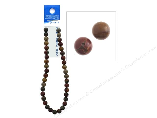 John Bead Semi-Precious 16 in. 10 mm Round Picasso Jasper Natural