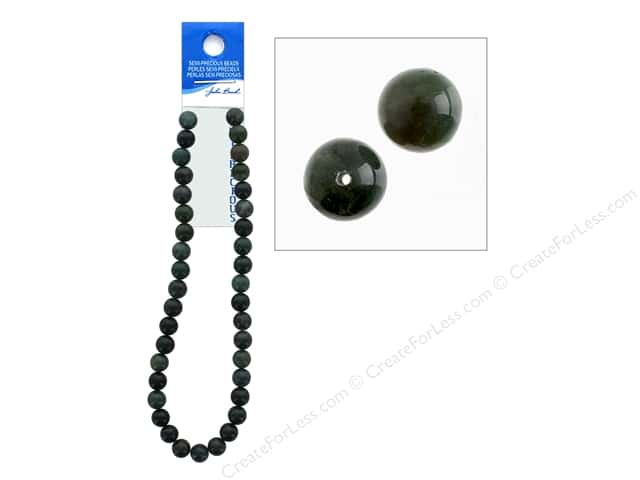John Bead Semi-Precious 16 in. 10 mm Round Moss Agate Natural