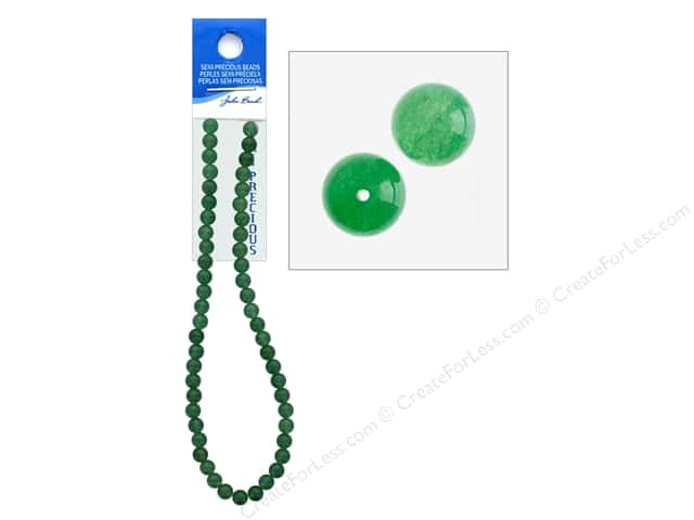 John Bead Semi Precious Bead 16 in. Aventurine 8 mm Round Dyed Green
