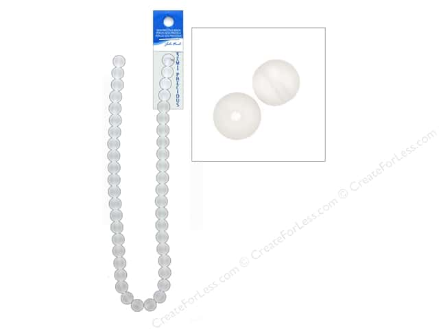 John Bead Semi Precious Bead 16 in. Quartz 10 mm Round Clear Frosted
