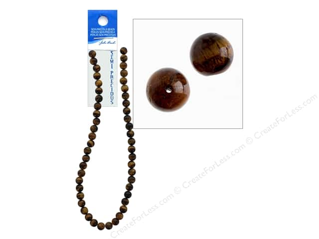 John Bead Semi Precious Bead 16 in. Tiger Eye 8 mm Round