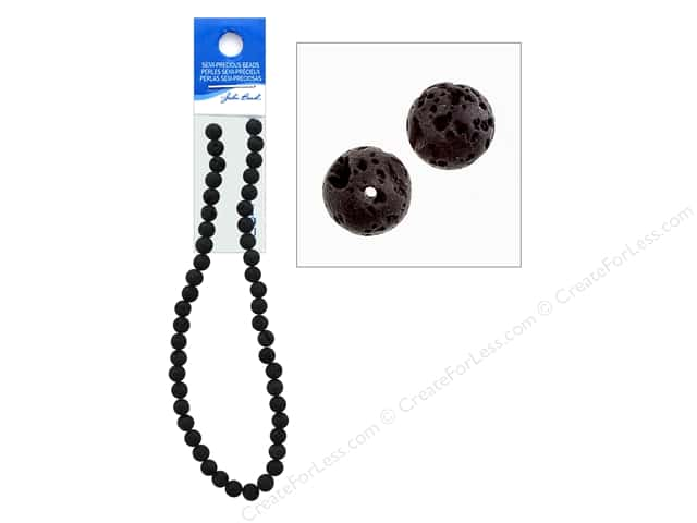 John Bead Semi Precious Bead 16 in. Lava 8 mm Round Black