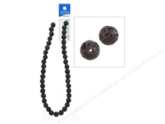 John Bead Semi Precious Bead 16 in. Lava 10 mm Round Black