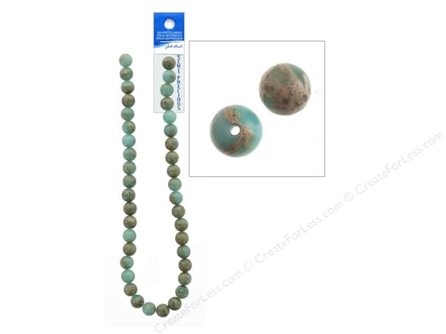 John Bead Semi-Precious 16 in. 10 mm Round Serpentine Jasper Natural