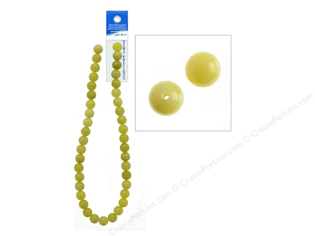 John Bead Semi Precious Bead 16 in. Jade 10 mm Round Lemon