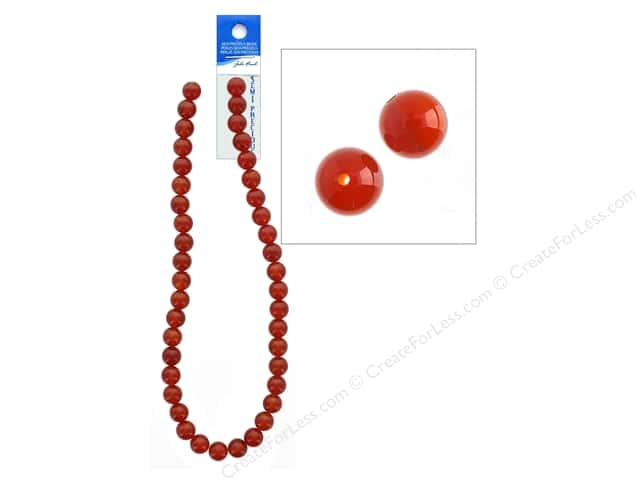 John Bead Semi-Precious 16 in. 10 mm Round Carnelian Natural Dyed
