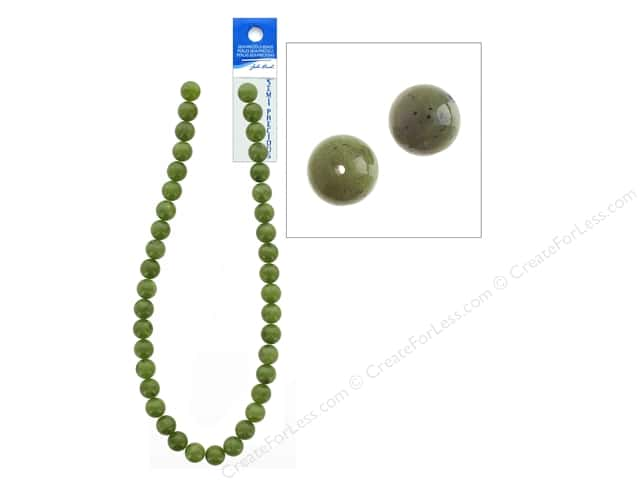 John Bead Semi-Precious 16 in. 10 mm Round Canadian Jade Natural