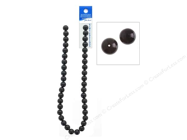 John Bead Semi Precious Bead 16 in. Onyx 10 mm Round Dyed Black