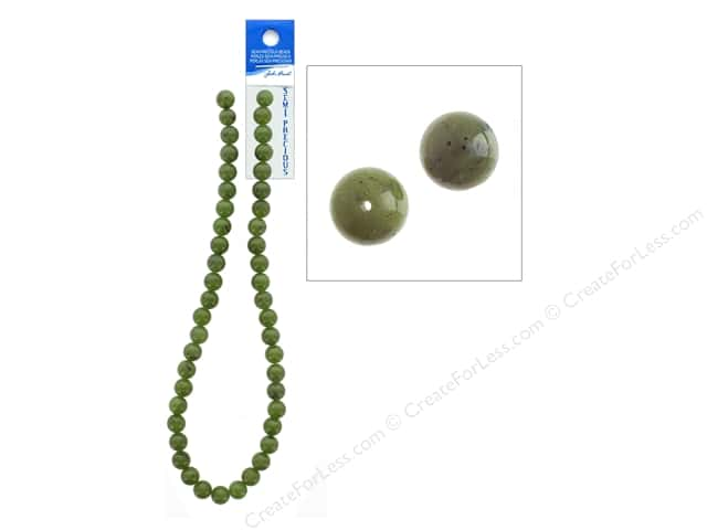 John Bead Semi Precious Bead 16 in. Jade Canadian 8 mm Ntrl