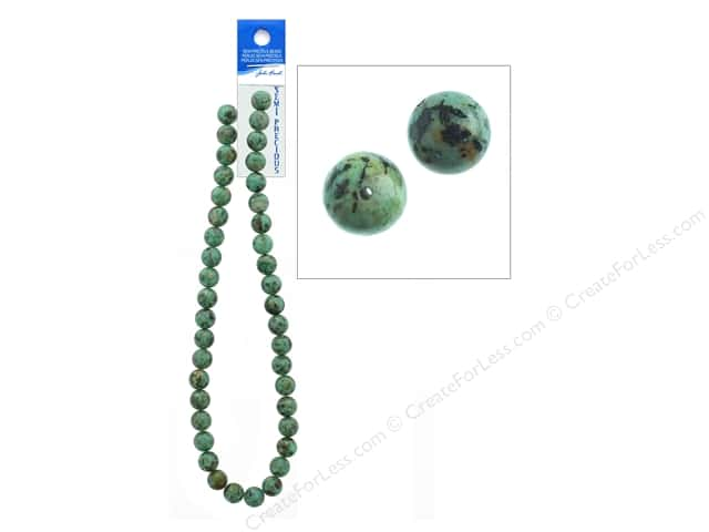 John Bead Semi-Precious 16 in. 10 mm Round African Turquoise Natural