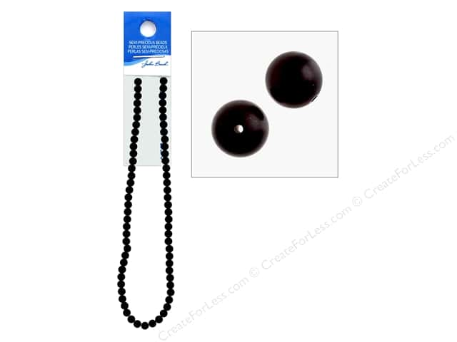 John Bead Semi Precious Bead 16 in. Stone 6 mm Round Dyed Matte Black