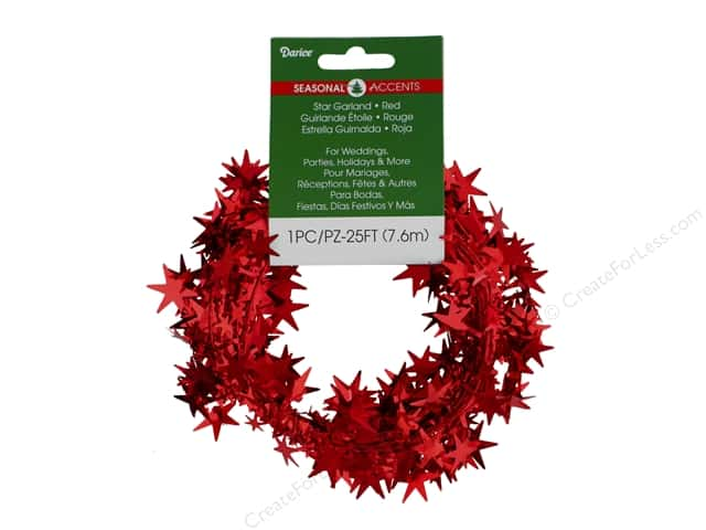 Darice Star Garland 25 ft. Red