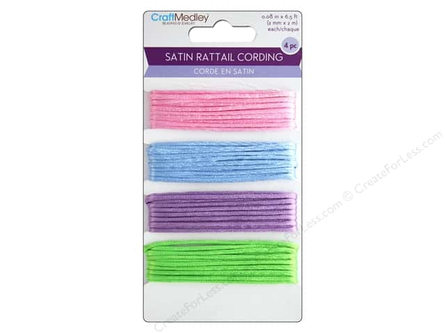MultiCraft Cord 2 mm Satin Rattail  8m Assorted Pastel