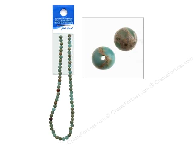 John Bead Semi Precious Bead 16 in. Jasper 6 mm Round Serpentine