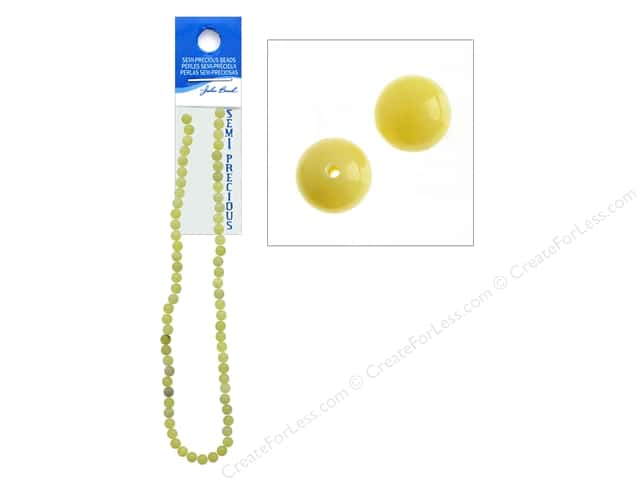 John Bead Semi-Precious 16 in. 6 mm Round Lemon Jade Natural