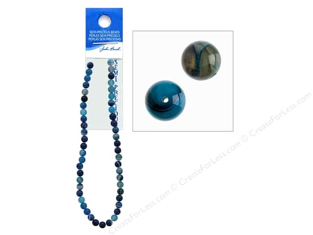 John Bead Semi Precious Bead 16 in.  Agate 8 mm Round Dyed Blue