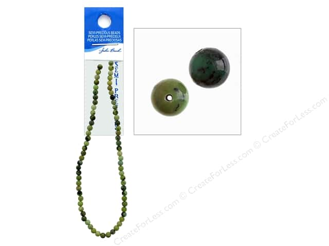 John Bead Semi-Precious 16 in. 6 mm Round Australian Jade Natural