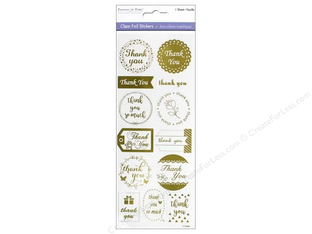 Multicraft Sticker Foil Clear Thank You Gold
