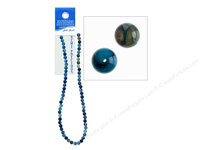 John Bead Semi-Precious 16 in. 6 mm Round Blue Agate Natural Dyed