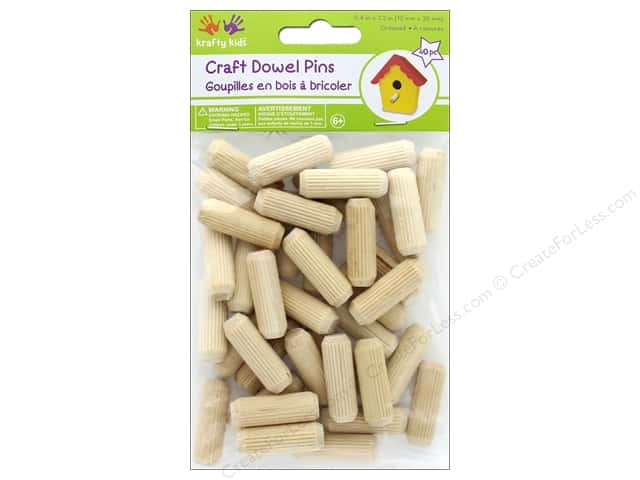 Multicraft Krafty Kids Craft Wood Dowel Pins 1.2 in.  Natural 40 pc