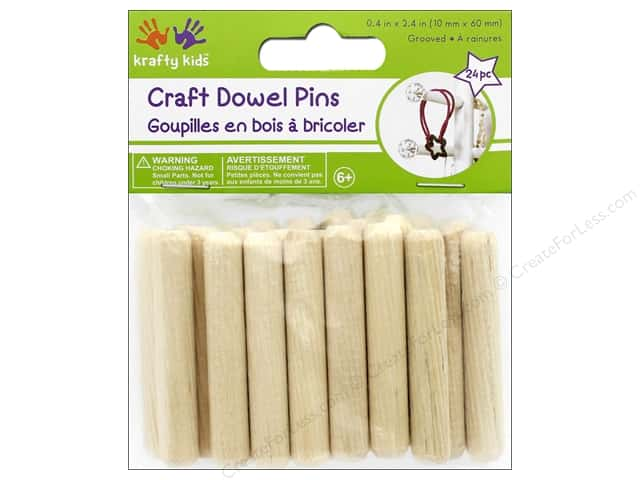 Multicraft Krafty Kids Craft Wood Dowel Pins 2.4 in. Natural 24 pc