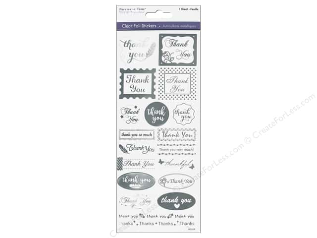 Multicraft Sticker Foil Clear Thank You Silver