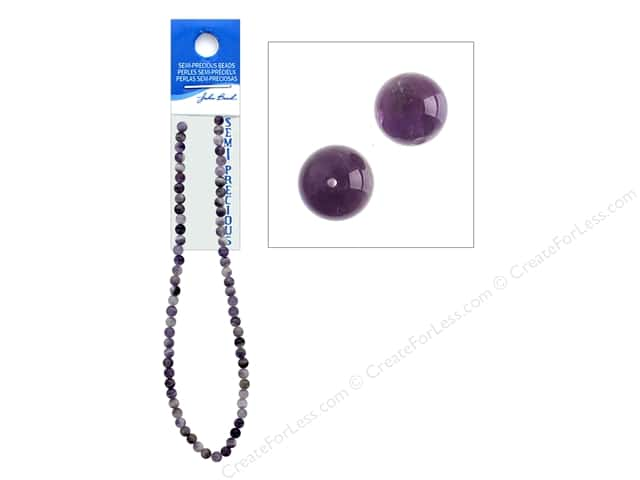 John Bead Semi-Precious 16 in. 6 mm Round Dogteeth Amethyst Natural