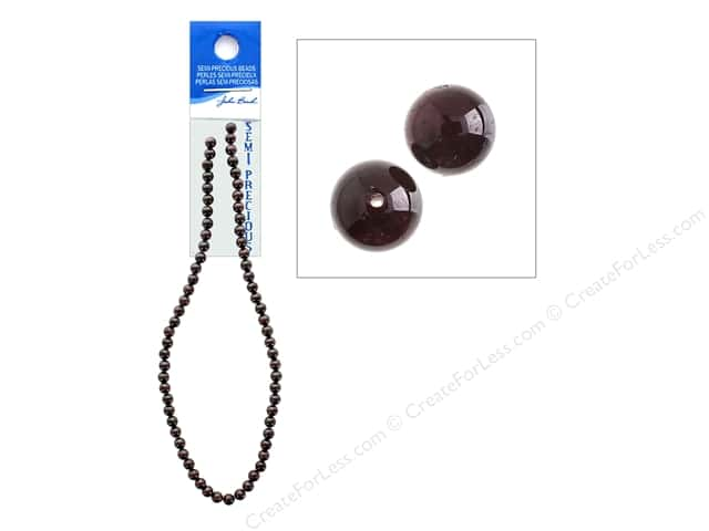 John Bead Semi-Precious 16 in. 6 mm Round Garnet Natural