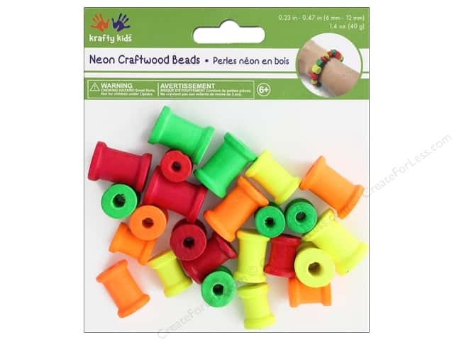 Multicraft Krafty Kids Wood Bead Spool 1.4 oz Neon